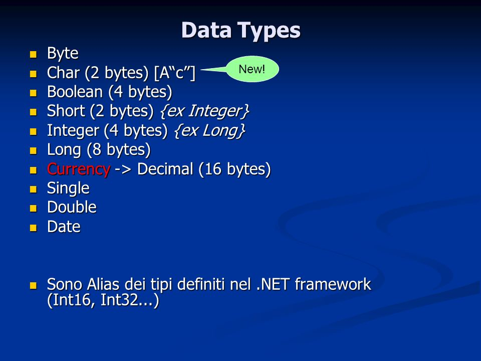 Data Types Byte Char (2 bytes) [A c ] Boolean (4 bytes)